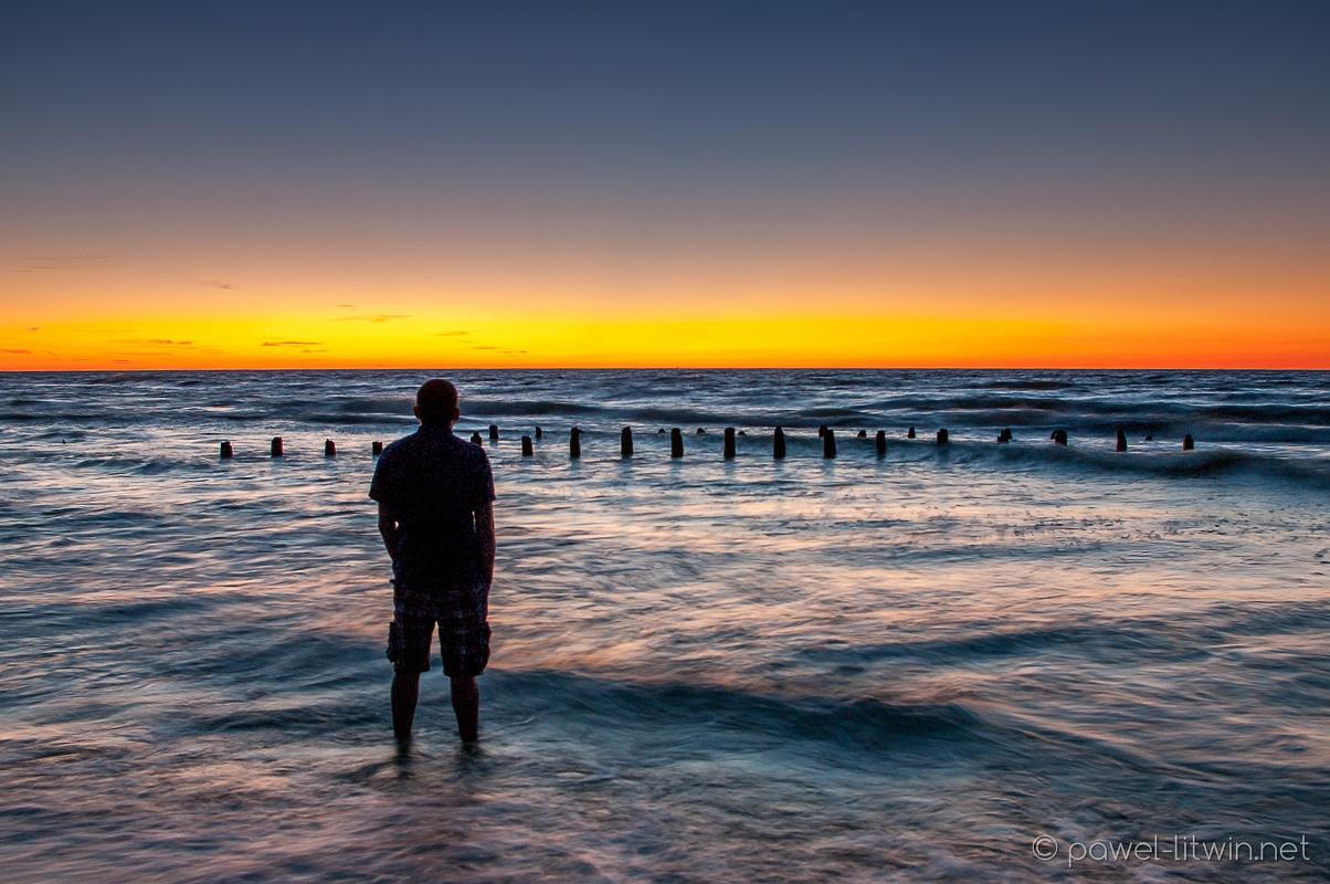 Zachód słońca nad morzem - Karwia, fotograf Paweł Litwin